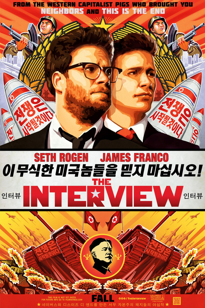 On the poster for 'The Interview', directed by Evan Goldberg and Seth Rogen, the Korean text reads 'The war will begin. Do not trust these ignorant Americans! Awful work by the pigs that created Neighbors.' photo: courtesy of S. Rogen/E. Goldberg